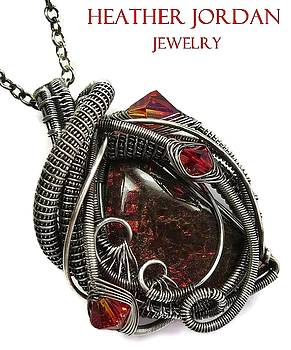 Wire-Wrapped Dragon Skin Ammolite Pendant in Antiqued Sterling Silver with Swarovski Crystals - 15 by Heather Jordan