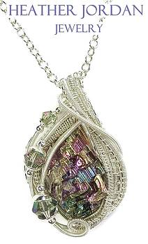 Wire-Wrapped Full-Spectrum Bismuth Crystal and Sterling Silver Pendant w Swarovski Crystal -BSMTHSS8 by Heather Jordan