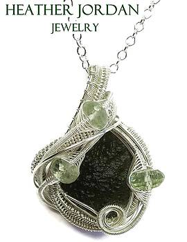 Wire-Wrapped Moldavite Pendant in Sterling Silver with Prasiolite - MLDSS8 by Heather Jordan