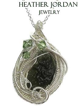 Wire-Wrapped Moldavite Pendant in Tarnish-Resistant Sterling Silver with Swarovski Crystal - MLDSS9 by Heather Jordan