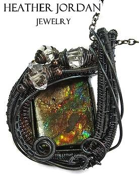 Wire-Wrapped Multi-colored Ammolite Pendant in Antiqued Sterling Silver with Herkimer Diamonds -11 by Heather Jordan