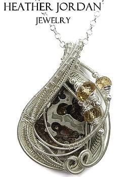 Wire-Wrapped Seymchan Pallasite Meteorite Pendant in Tarnish-Resistant Sterling Silver with Citrine by Heather Jordan