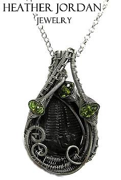 Wire-Wrapped Trilobite Fossil Pendant in Antiqued Sterling Silver with Peridot - TRILSS12 by Heather Jordan