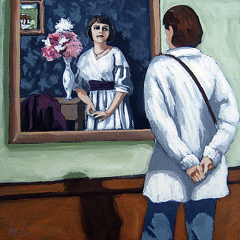 Woman at Art Museum figurative painting by Linda Apple