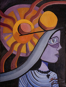 Woman Balancing Rocks Overhead  by Jimmy Butros