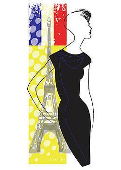 Woman in Paris with Effiel Tower by Lisa Henderling