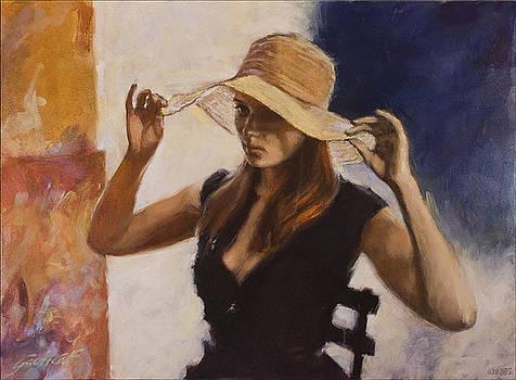 Woman in Yellow Sun Hat by Gavin Calf