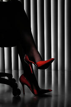 Woman Legs in Red Shoes by Oleksiy Maksymenko