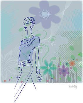 Woman walking thru flowers in springtime by Lisa Henderling