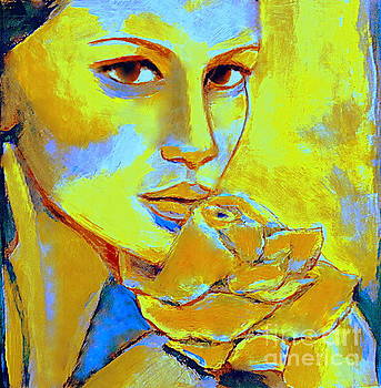 Woman with flower by Helena Wierzbicki