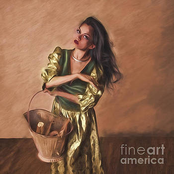 Woman With Pail  ... by Chuck Caramella