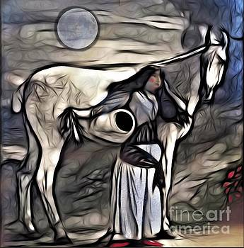Woman with White Horse by Alexis Rotella