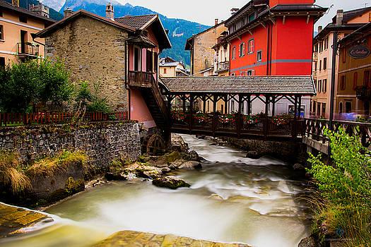 Wood Bridge On The river by Cesare Bargiggia