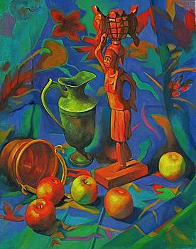 Wood Carving With Apples by Evelyn  M  Breit