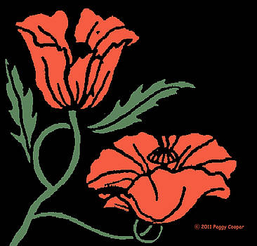 Woodcut Flower A  by Peggy Cooper