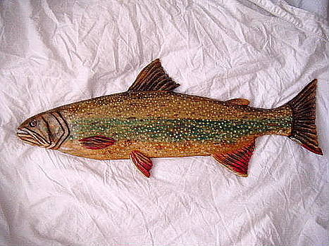 Wooden Dolly Varden Trout number one by Lisa Ruggiero