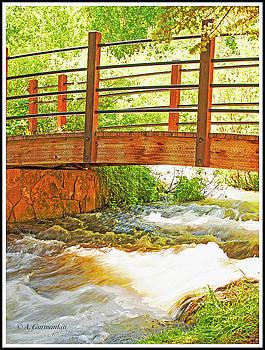 Wooden Foot Bridge Over a Rushing Stream by A Gurmankin