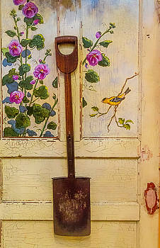Wooden Shovel On Painted Door by Garry Gay