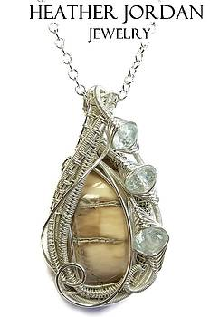 Woolly Mammoth Tusk Pendant In Sterling Silver With Aquamarine - WMPSS2 by Heather Jordan