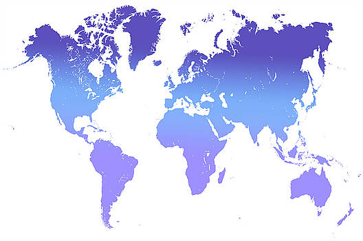 World Map Abstract. Blue Purple by Jenny Rainbow