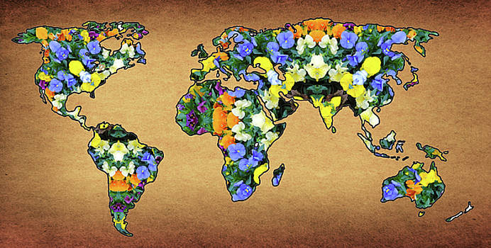 World Map Flower Mandala by Jorge Gomez