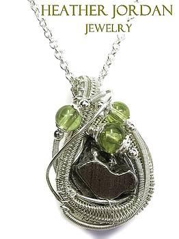 Woven Sikhote-Alin Meteorite Pendant in Tarnish-Resistant Sterling Silver with Peridot - IMetPSS22 by Heather Jordan