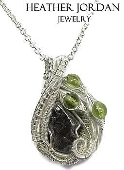 Woven Sikhote-Alin Meteorite Pendant in Tarnish-Resistant Sterling Silver with Peridot - IMetPSS23 by Heather Jordan
