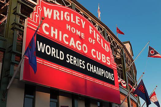 Wrigley Field World Series Marquee Angle by Steve Gadomski