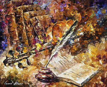 Written Music - PALETTE KNIFE Oil Painting On Canvas By Leonid Afremov by Leonid Afremov