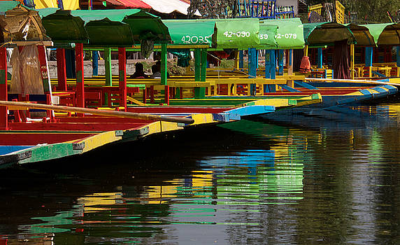 Xochimilco Barges and reflection by David Resnikoff