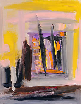 Yellow and Black Abstract by Maggis Art