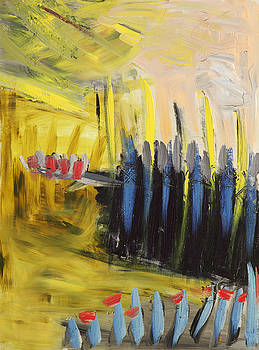 Yellow and Blue Abstract by Maggis Art