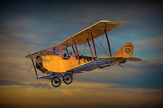 Randall Nyhof - Yellow Biplane with Sunset Cloudy Sky