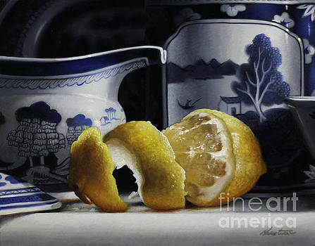Yellow Blue And White by Larry Preston