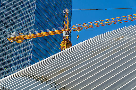 Yellow Construction Crane Lower Manhattan by Xavier Cardell