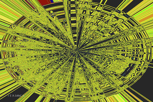 Yellow Green Black Abstract by Tom Janca