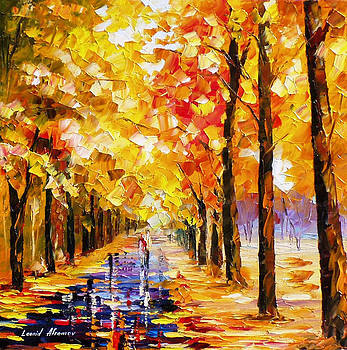 Yellow In Love - PALETTE KNIFE Oil Painting On Canvas By Leonid Afremov by Leonid Afremov