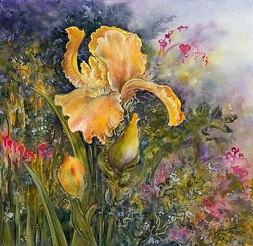 Yellow Iris with Bleeding Hearts by Kathy Harker-Fiander