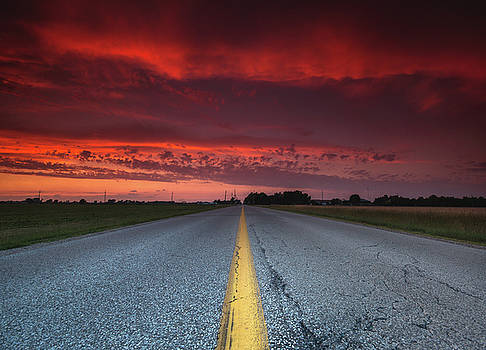 Yellow Line Sunset by Cale Best