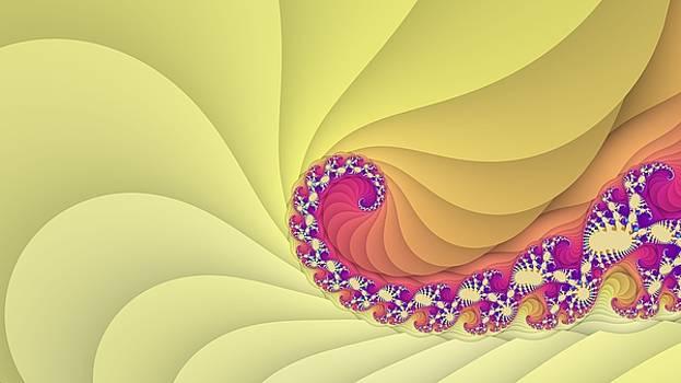 Yellow spiral fractal art by Marina Likholat