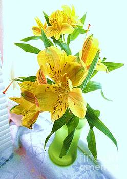 Yellow Tiger Lilies In Green Vase by Trudy Brodkin Storace
