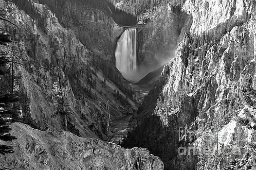 Adam Jewell - Yellowstone Falls Landscape - Black And White