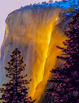 Yosemite Firefall Painting by Dr Bob Johnston