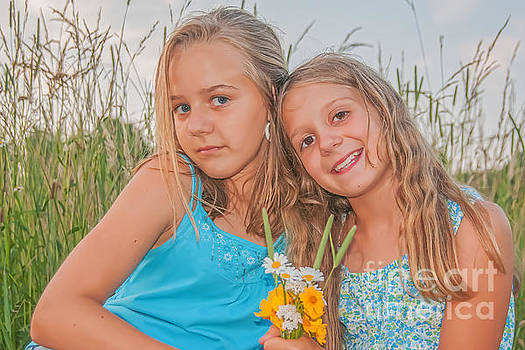 Randy Steele - Young Girls with Wildflowers Portrait
