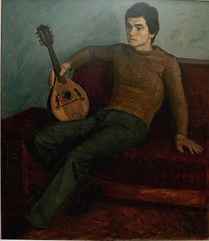 Young man with mandolin by Dionisii Donchev