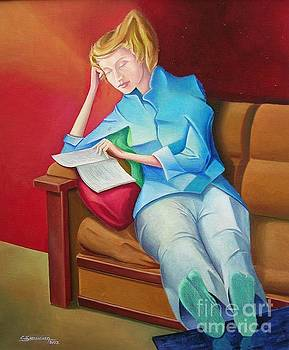 Young woman reading by Christian Simonian
