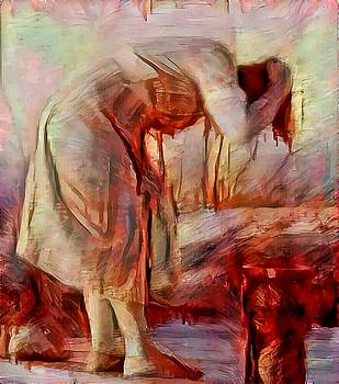 Young woman washing river bent over old master sketch painting in orange blue oil-like acrylic warm paint by MendyZ