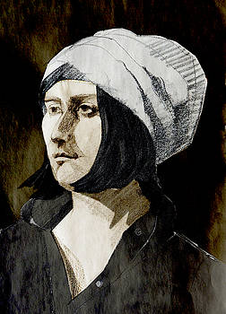 Portrait of a Young Woman with Hat in the Dark by Greta Corens
