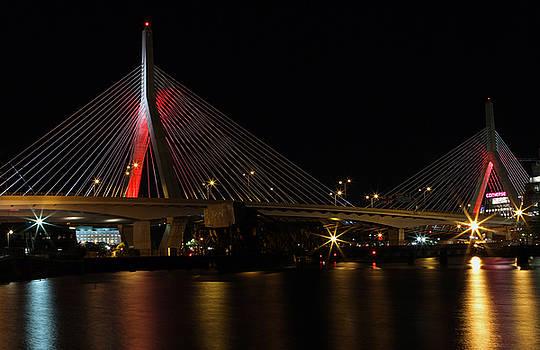 Juergen Roth - Zakim Bridge Lit Up in Red