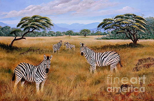 Zebras on the Bushveld by Ursula Reeb